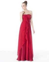 China Chiffon A-Line Strapless Red Prom Dress (PD005 ...