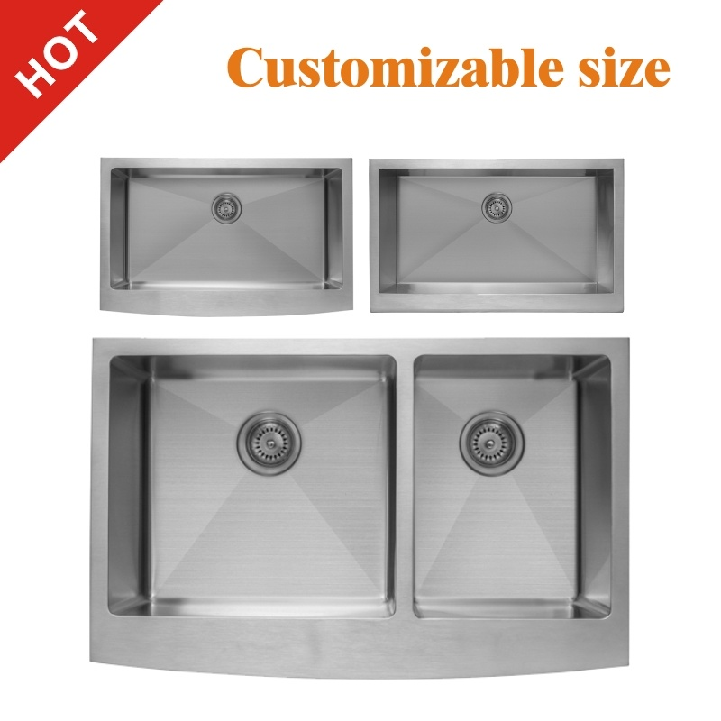 hot item europe and america composite 16 18gauge food grade drop in apron front single double bowl stainless steel farmhouse silver black kitchen