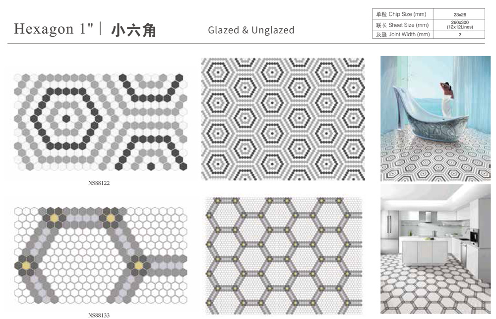 hot item 1 glossy and matte black dot hexagon mosaic ceramic floor tile wholesale