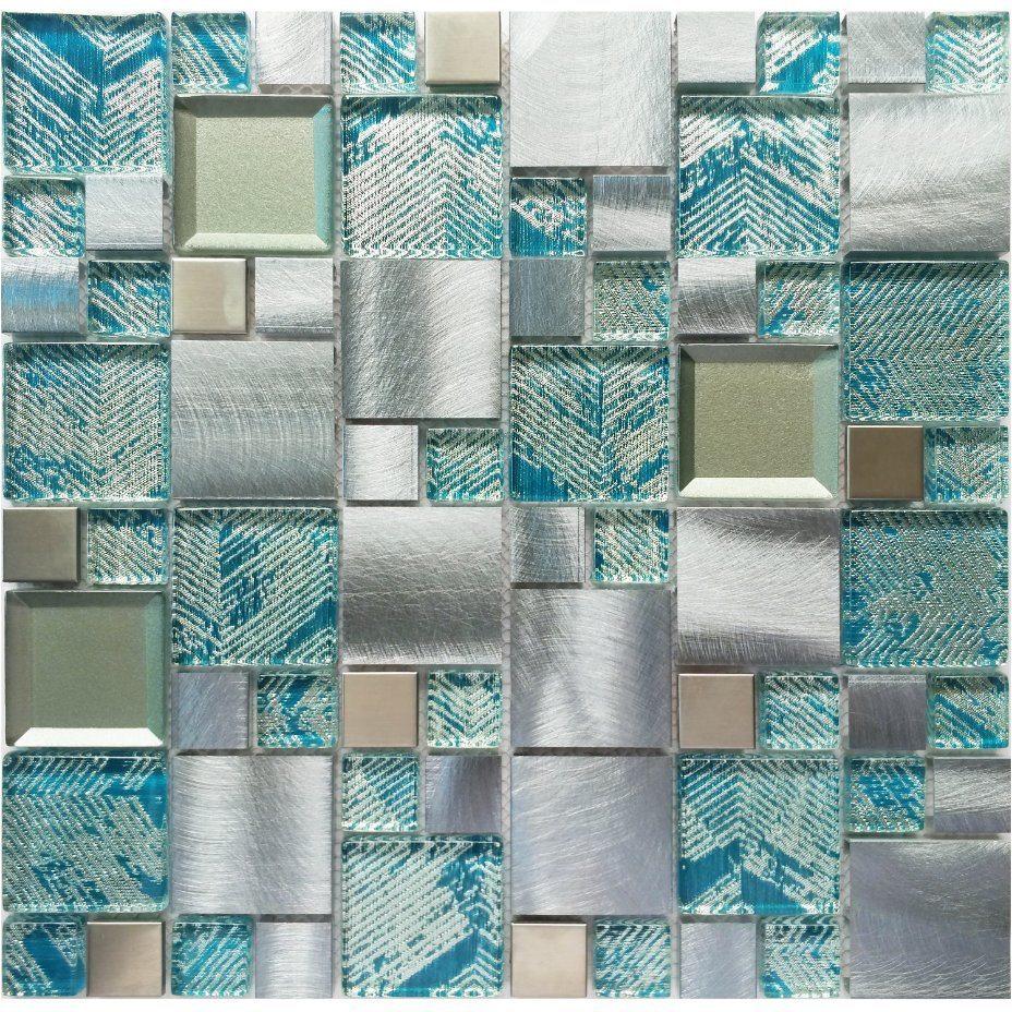 hot item new design mosaic sky blue silver stainless steel glass mosaic tiles mosaic tile ceramic tile for kithchen bathroom wall tile