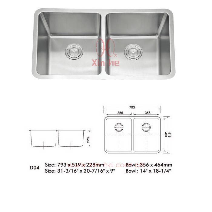 china stainless steel double bowl small