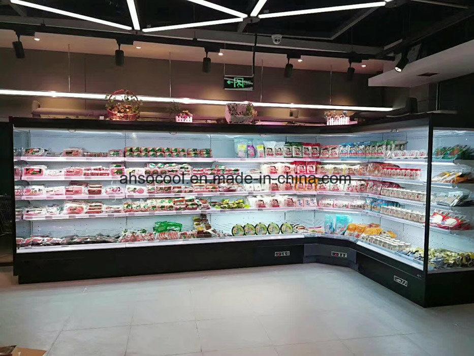 hot item vertical air curtain merchandiser refrigerator for supermarket cold food display case