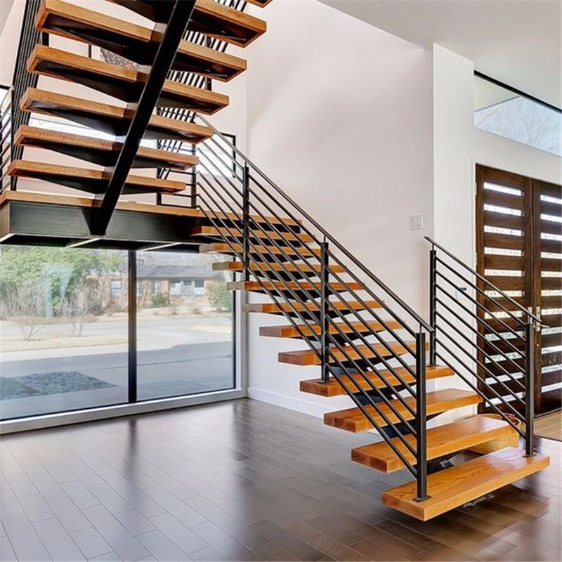 China Modern Wood Staircase Design For House Interior Straight | Wood Mono Stringer Stairs | Central | Arch | Hardwood | Glass | Timber