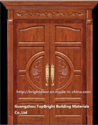 China Luxury Teak Wood Double Door Design (CL