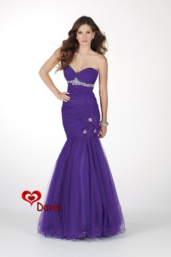 China Purple Mermaid Sweet-heart Prom Dress Gown Pd-1620