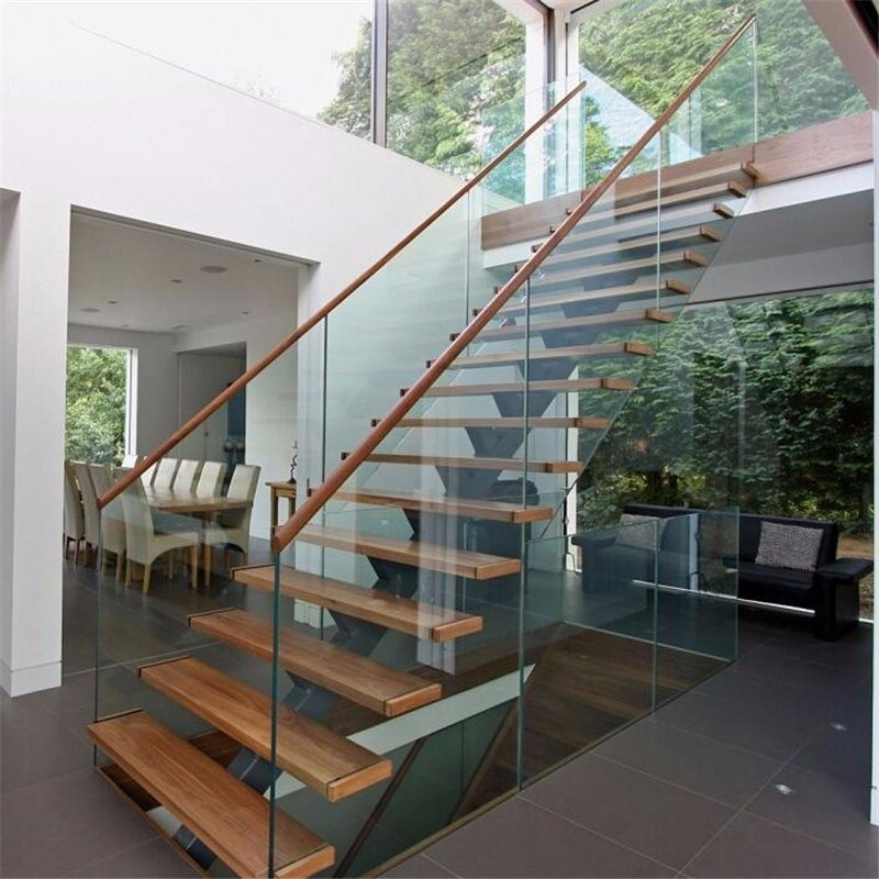 China Prefab Steel Wood Straight Staircase With Glass Stair | Wood And Glass Banister | Grey | Before And After | Rustic Glass Interior | Concrete Stairs Wooden Glass | Acrylic