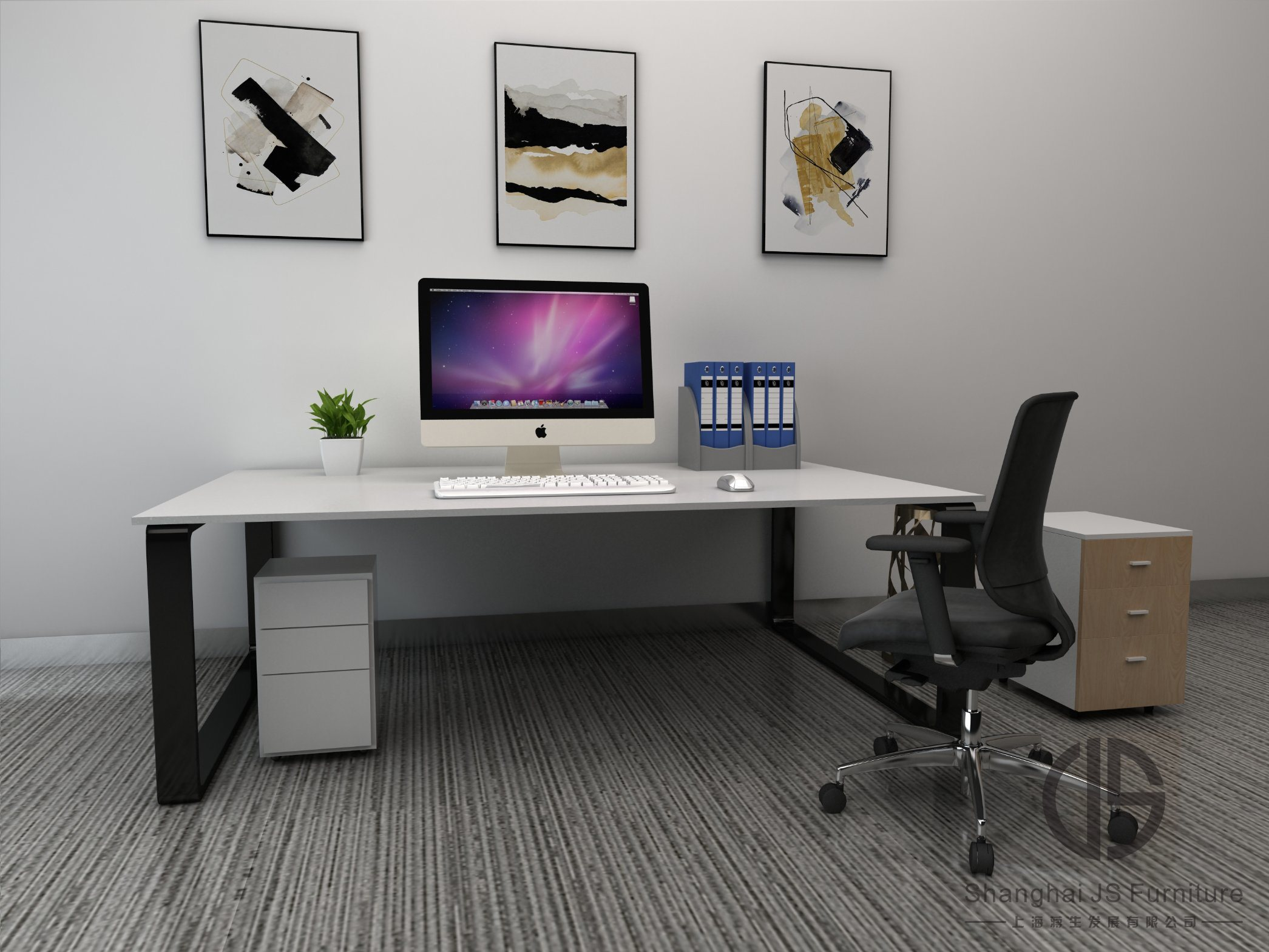 China Office Furniture Modern White Large Office Desks Environmental Friendly Fiberboards Can Be Customized China Table Desk