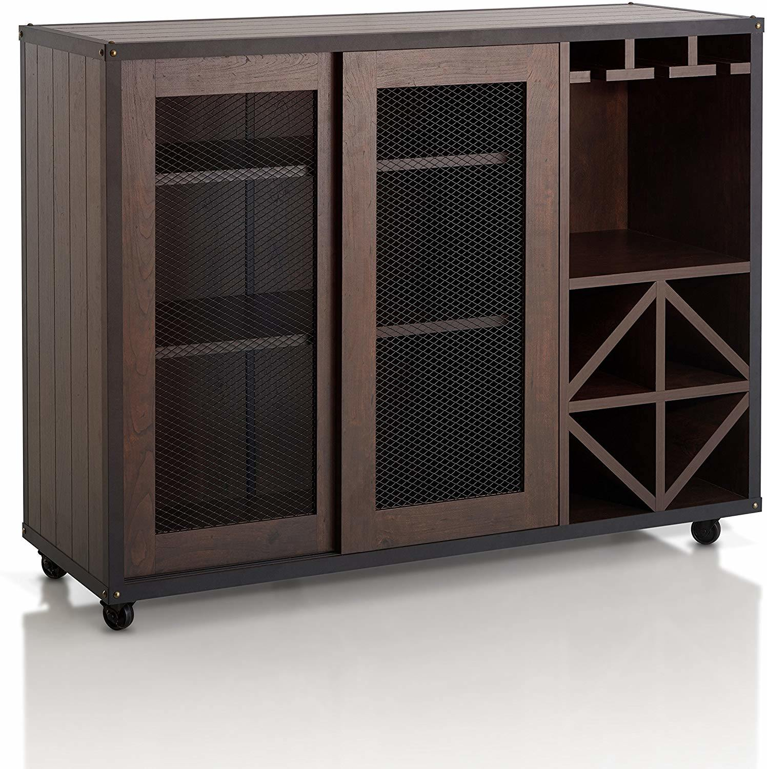 Chinese Furniture Wooden Buffet Antique Reproduction Furniture Kitchen Cabinets Sliding Door Multi Storage Buffet Sideboard With Wine Rack And Caster Wheels Chinese Furniture Wooden Buffet Wooden Kitchen Cabinet