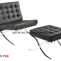 Barcelona Sofa Grey Wicker China Office Metal Leisure Leather Lounge Recliner Chair Pe F66