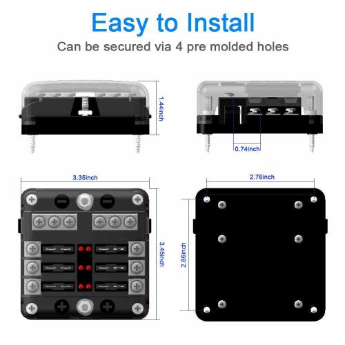small resolution of 6 way fuse box blade fuse block holder screw nut terminal w negative bus led indicator waterproof cover for automotive car marine boat