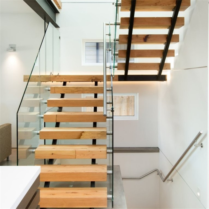 China Single Steel Beam Solid Wood Straight Staircase Double Beam   Wooden Staircase With Glass   Oak   Glass Design Golden   Tempered Glass   Unusual Interior   Detail