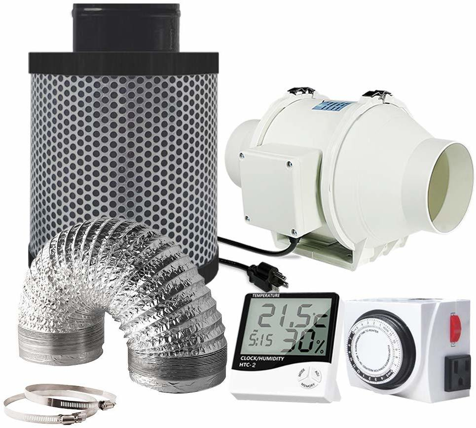 hot item grow tent 4inch inline duct fan exhaust fan with 4 carbon filter 25 feet ducting