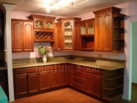 China Kitchen Cabinet Showroom (Walnut Oak)