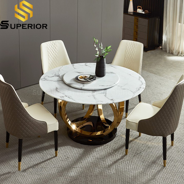 hot item modern living room furniture big size round marble dining table