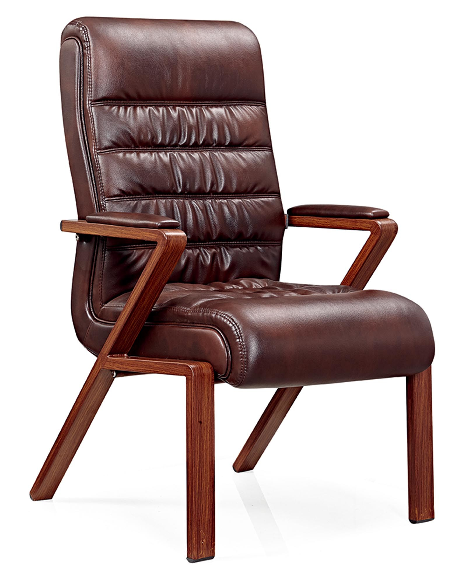 Leather And Wood Chair Hot Item Modern Brown Leather Wooden Office Chair For Visitor