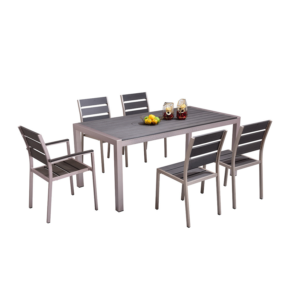 Outdoor Table And Chair Set Hot Item Promotional Garden Dining Furniture Plastic Wood Aluminum Table And Chair Set