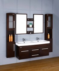 China Wooden Double Sink Wall Mounted Bathroom Vanities