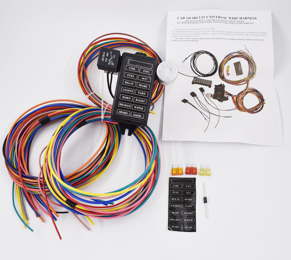 hight resolution of china 14 circuit universal wire harness 14 fuse 12v street hot rat muscle rod wiring china 14 circuit wire harness connecting rods