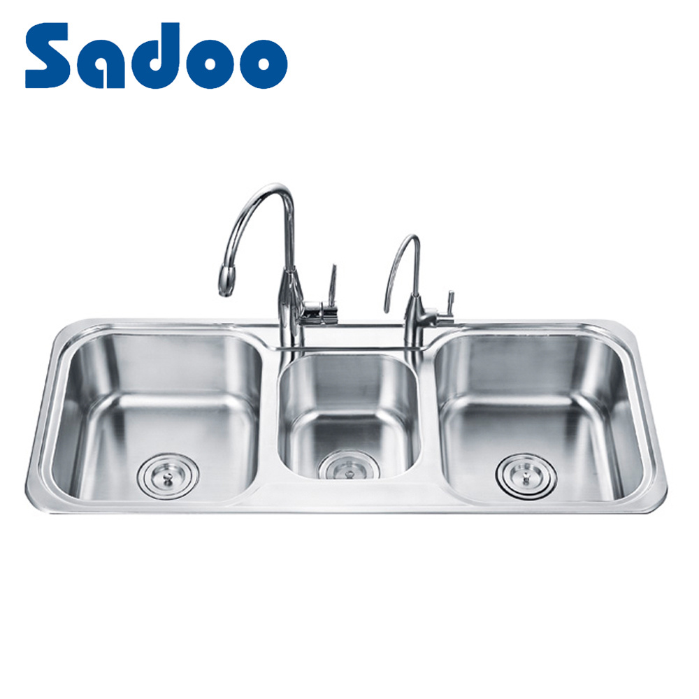 triple kitchen sink modern rugs china bowl stainless steel sinks