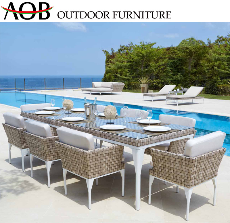 China Modern Outdoor Garden Patio Hotel Restaurant Rattan 8 Seater Dining Table Furniture Sets Chinese Furniture Home Furniture