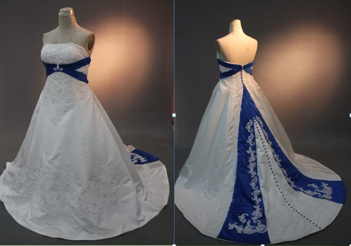 China RW09 Royal Blue And White Wedding Dresses