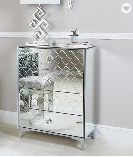 hot item bedside corner cabinet 4 drawers silver mirrored chest drawers