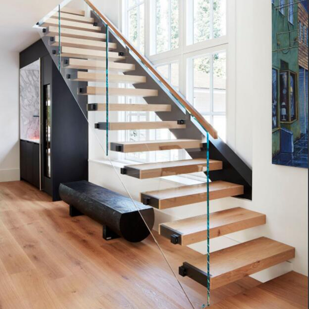 China Glass Balustrade Straight Floating Stairs China Straight | Glass Banisters For Stairs Price | Floating Stairs | Oak Staircase | Oak Handrail | Wood | Curved Glass