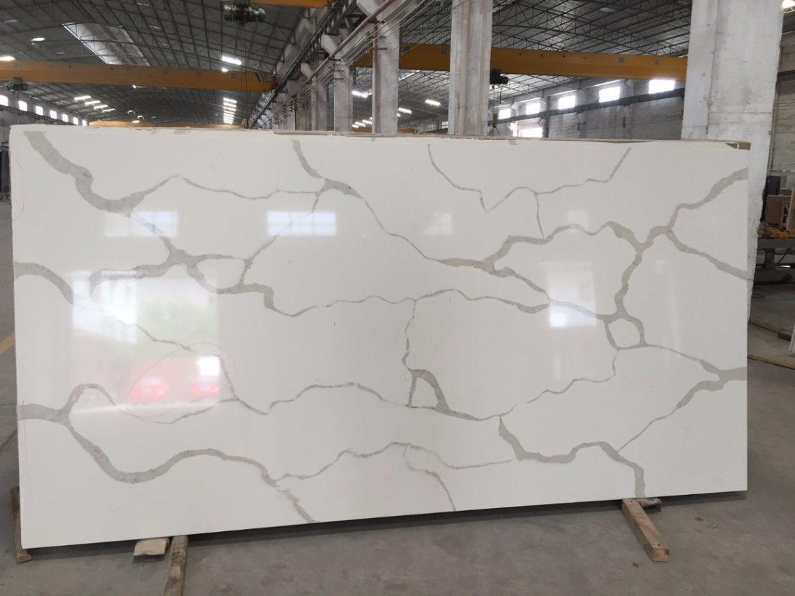 China New Arrival White Calacatta Quartz Stone with Big Slab Size ...