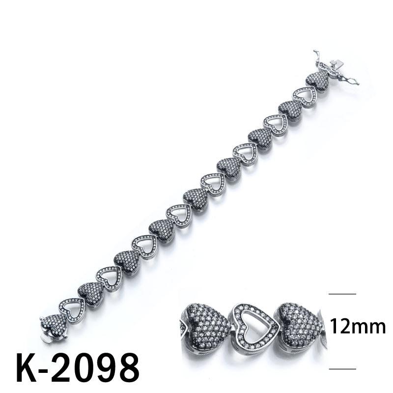 China Black CZ Bracelets 925 Silver Jewelry Heart