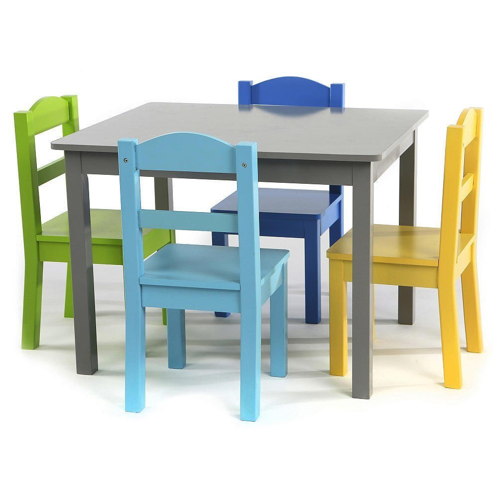 Kids Wood Table And Chairs Hot Item Kids Wood Table 4 Chair Set Grey Blue Light Blue Green Yellow