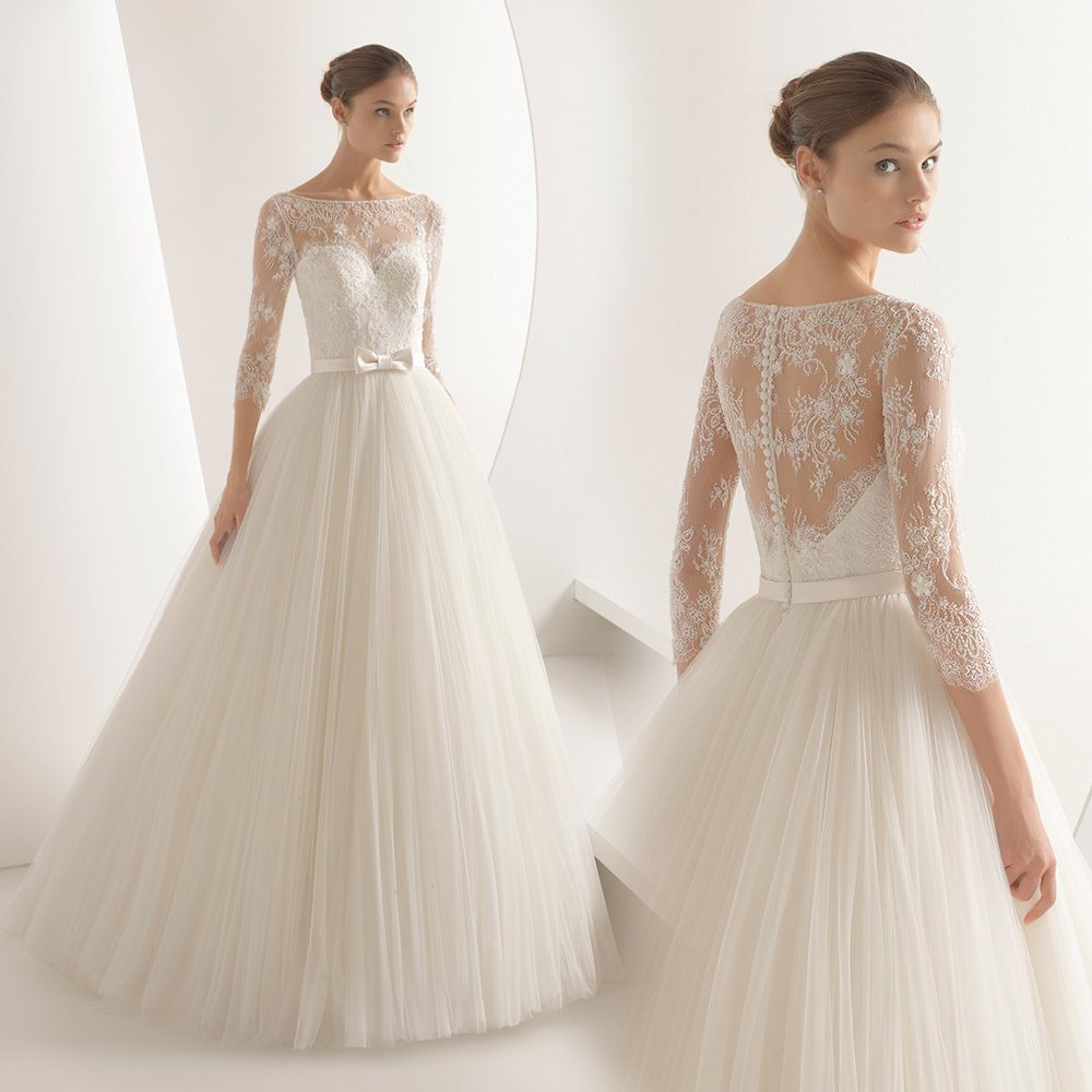 A Line Wedding Gowns With Sleeves 54 Off Awi Com
