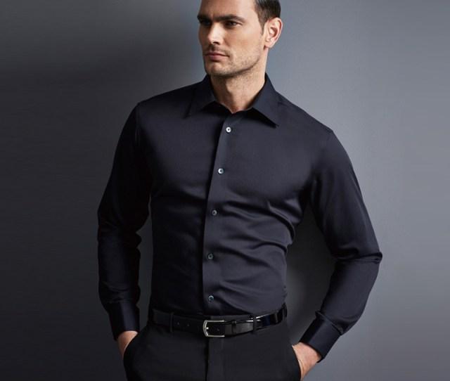 Casual Slim Fit Formal Shirt Mens Office Black Shirt