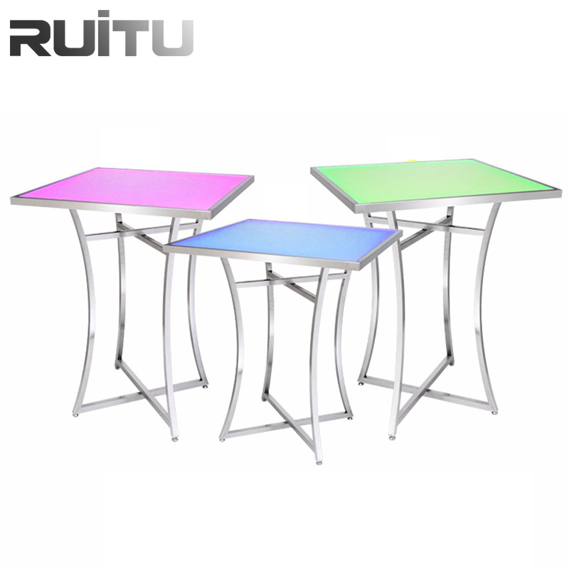 hot item multifunction wholesale center table tempered glass modern design led lighted nordic italian small folding hotel stainless steel antique