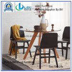 China Wooden Round Table Best Price Glass Transparent Round Coffee Dining Table With Wooden Legs Dining Room Set China Dining Table Dining Room Set