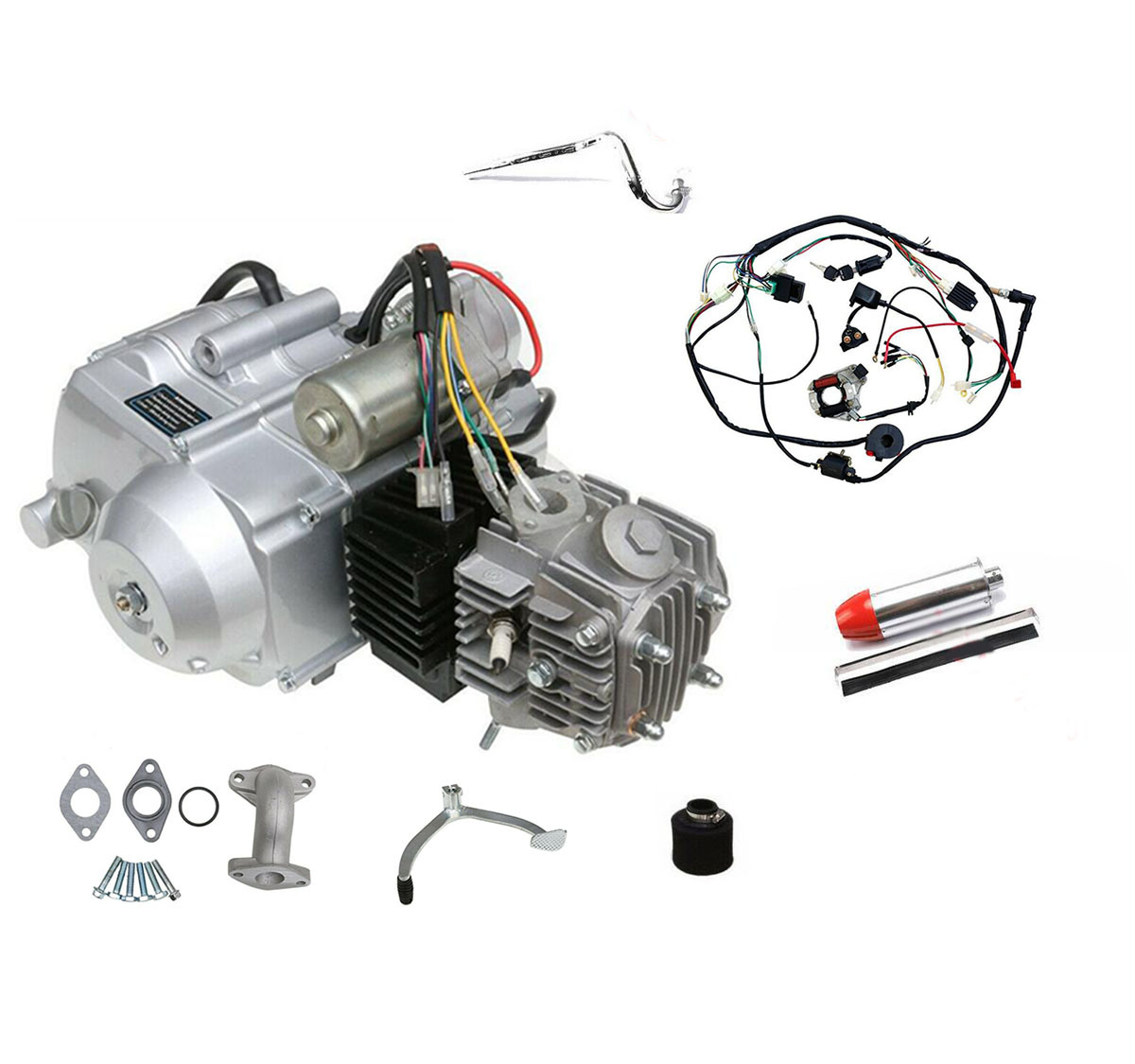 hight resolution of china 125cc engine motor kit wiring harness 3 speed reverse for atv quad go kart air cooled 4 stroke china engine motor atv quad