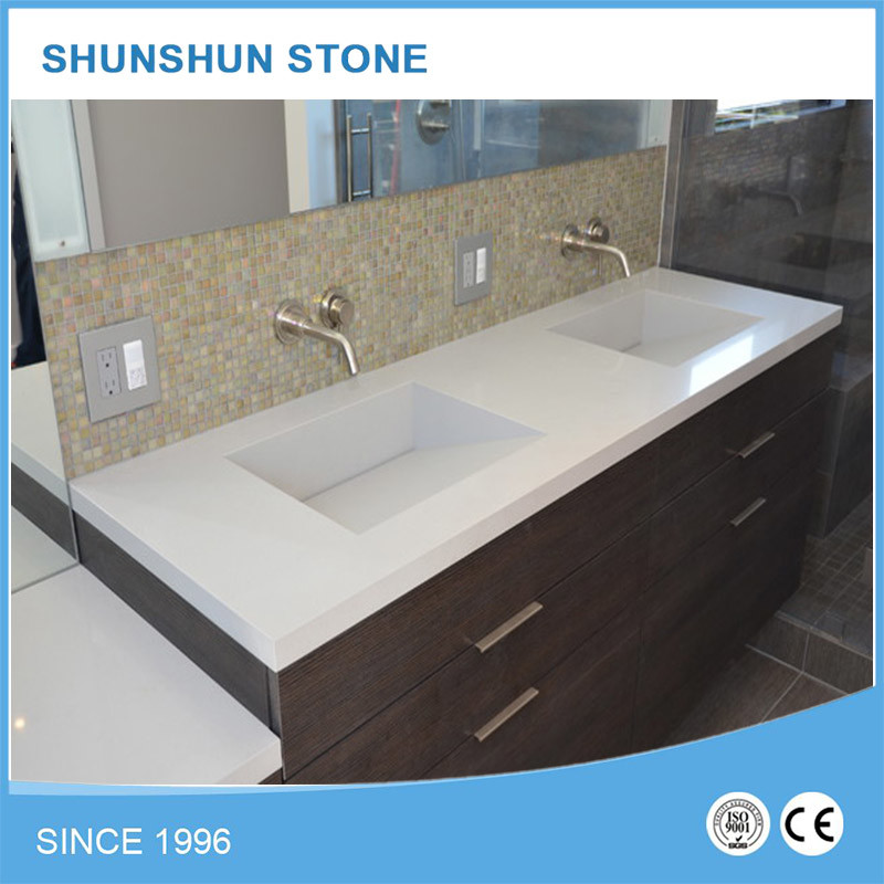 China Super White Quartz Bathroom Vanities With Cabinets Photos Pictures Made In China Com