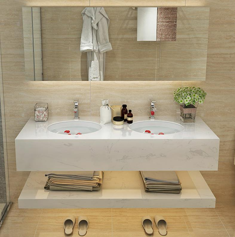 hot item antique marble wash double basin bathroom vanity furniture cabinets mirror with lights antifrog bluetooth function