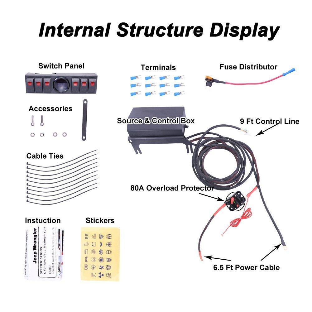 hight resolution of 6 rocker switch panel wiring kit control relay box assemblies