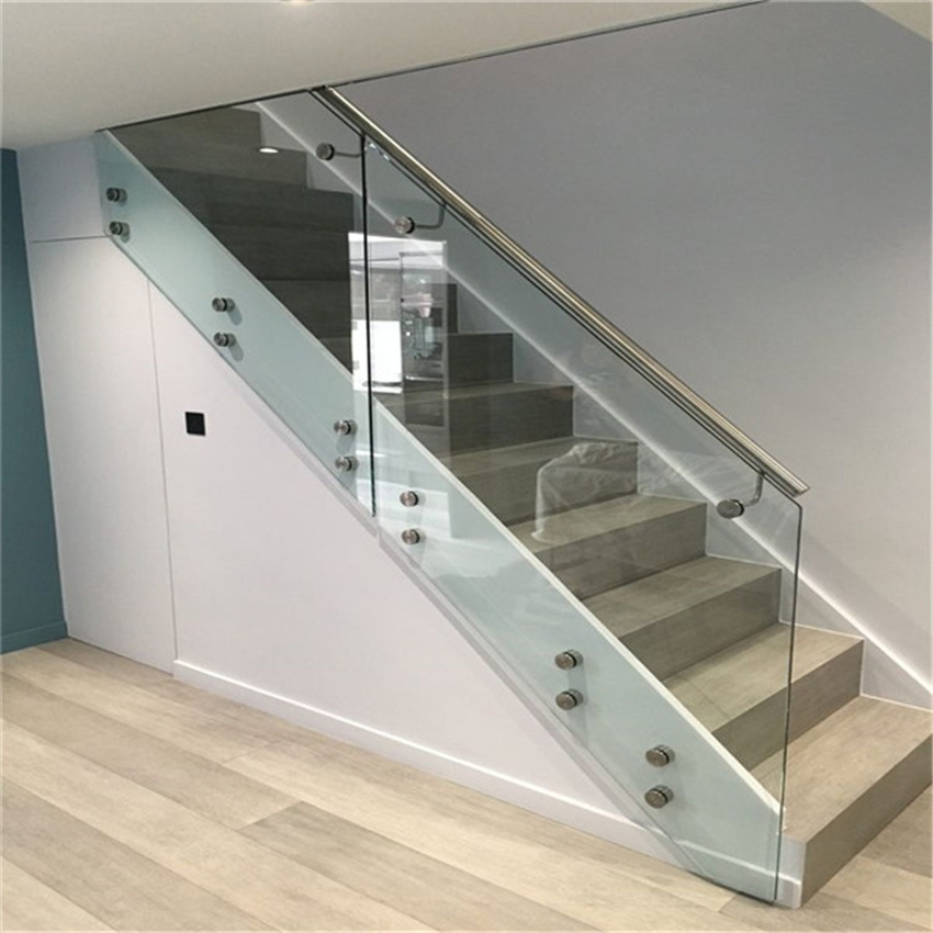 China Stainless Steel Glass Standoff Stair Balustrade | Steel Railing With Glass For Stairs