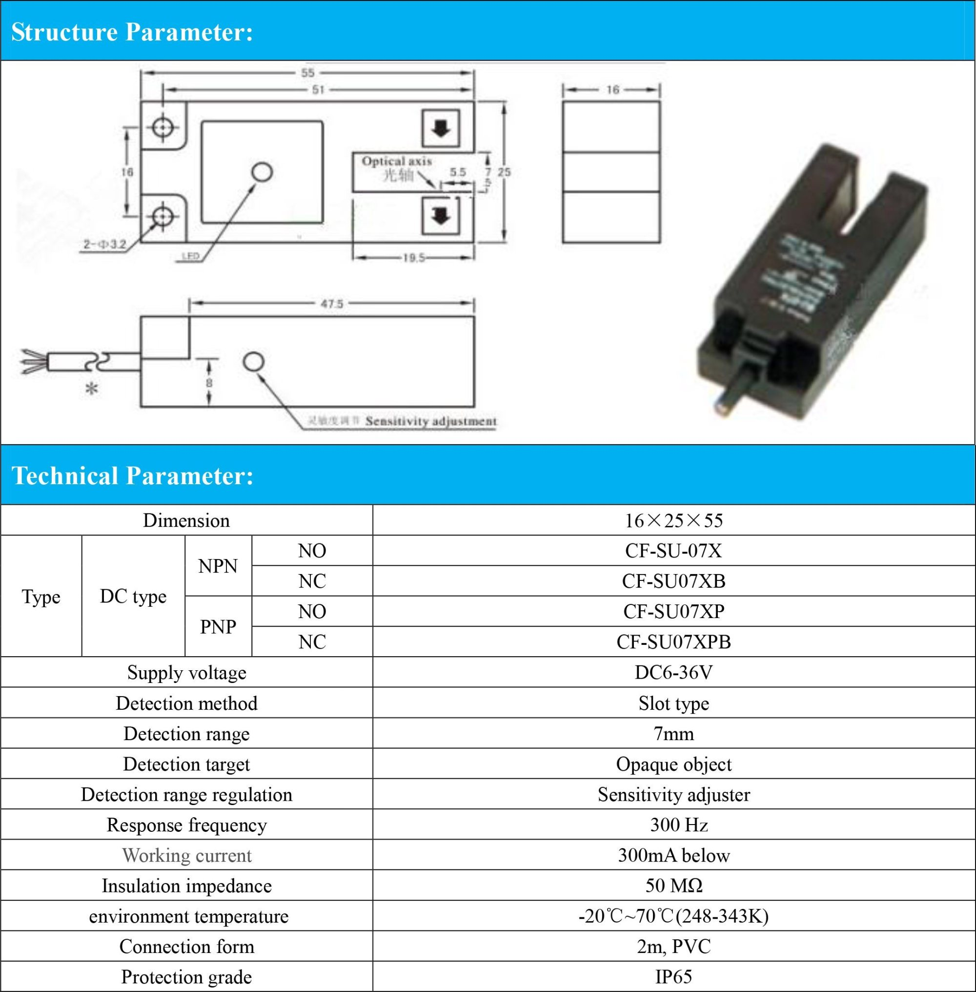 hight resolution of pnp nc slot type 7mm detection range photoelectric switch sensor