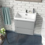 China Light Grey 600mm Bathroom Basin Sink Wall Hung Vanity Unit Photos Pictures Made In China Com