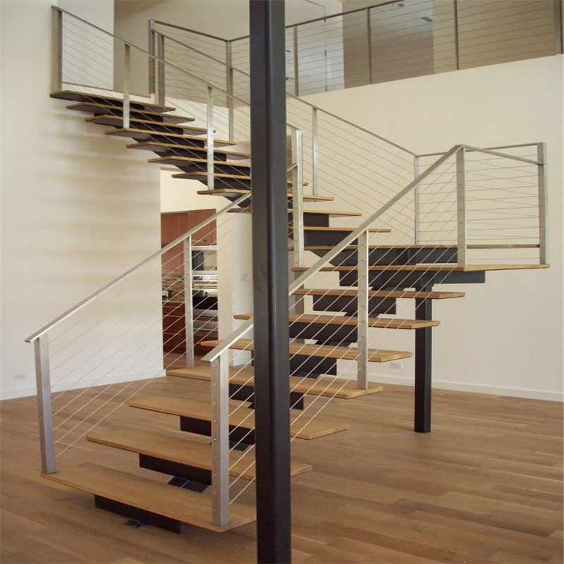 China Modern Steel Stringer Straight Staircase With Cable Wire | Modern Cable Stair Railing | Entry Foyer | Staircase Remodel | Stair Treads | Glass Railing | Deck Railing
