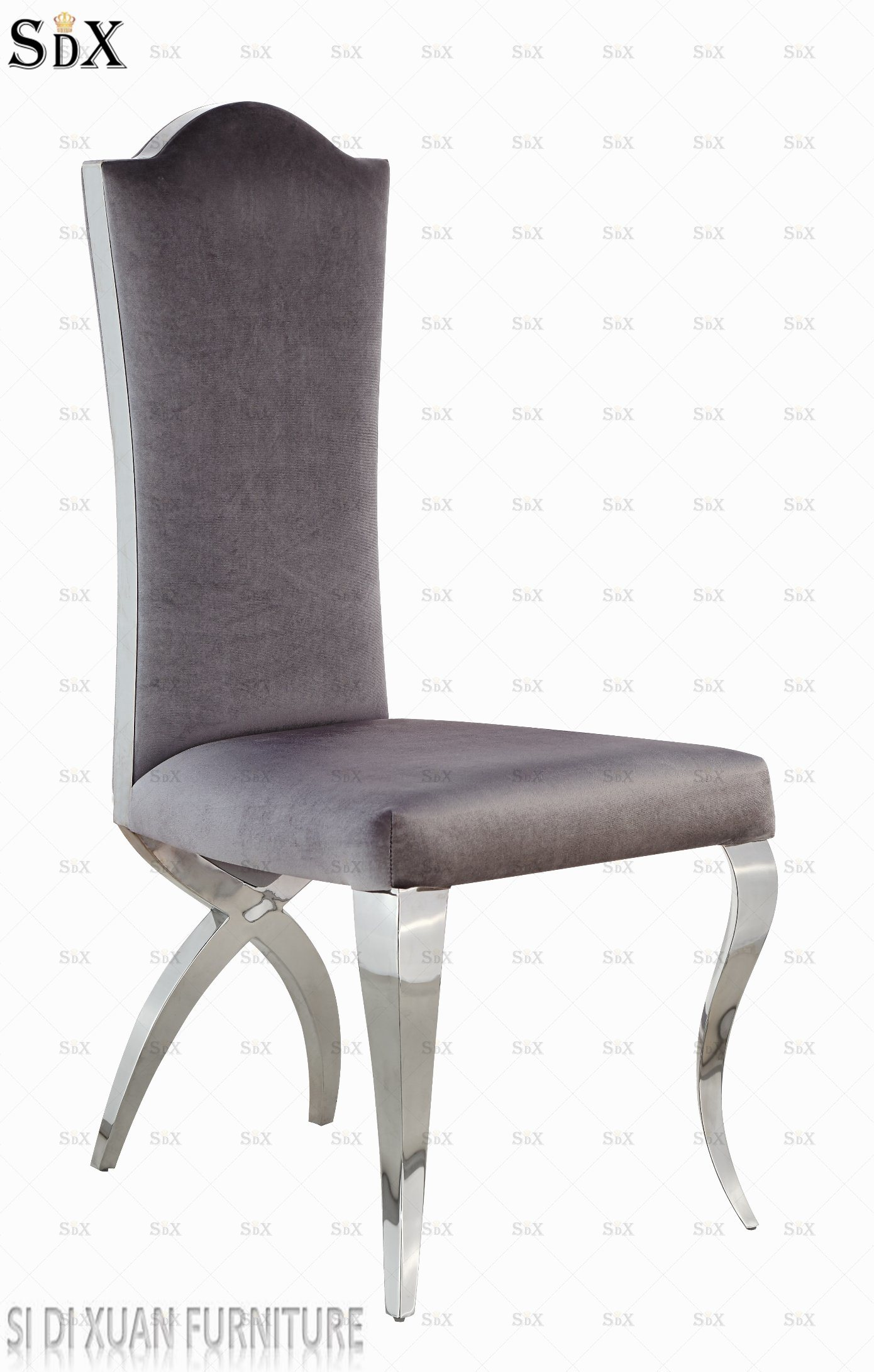 Silver Dining Chairs Hot Item Top Luxury Italian Style Dining Chairs Crushed Silver Velvet Stainless Steel Leg Dining Chairs