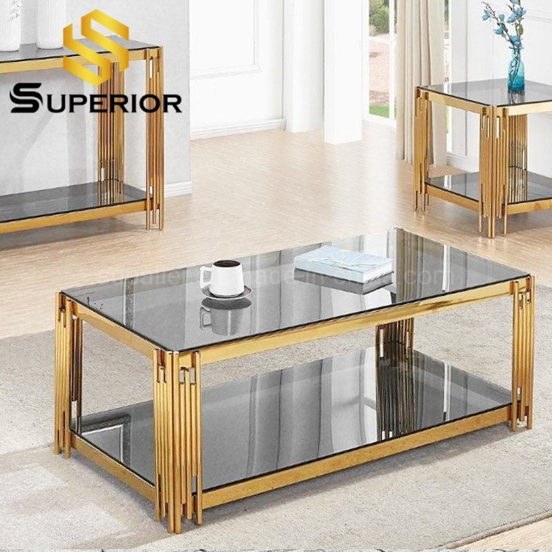 hot item popular cheap price gold mirror glass top coffee center table