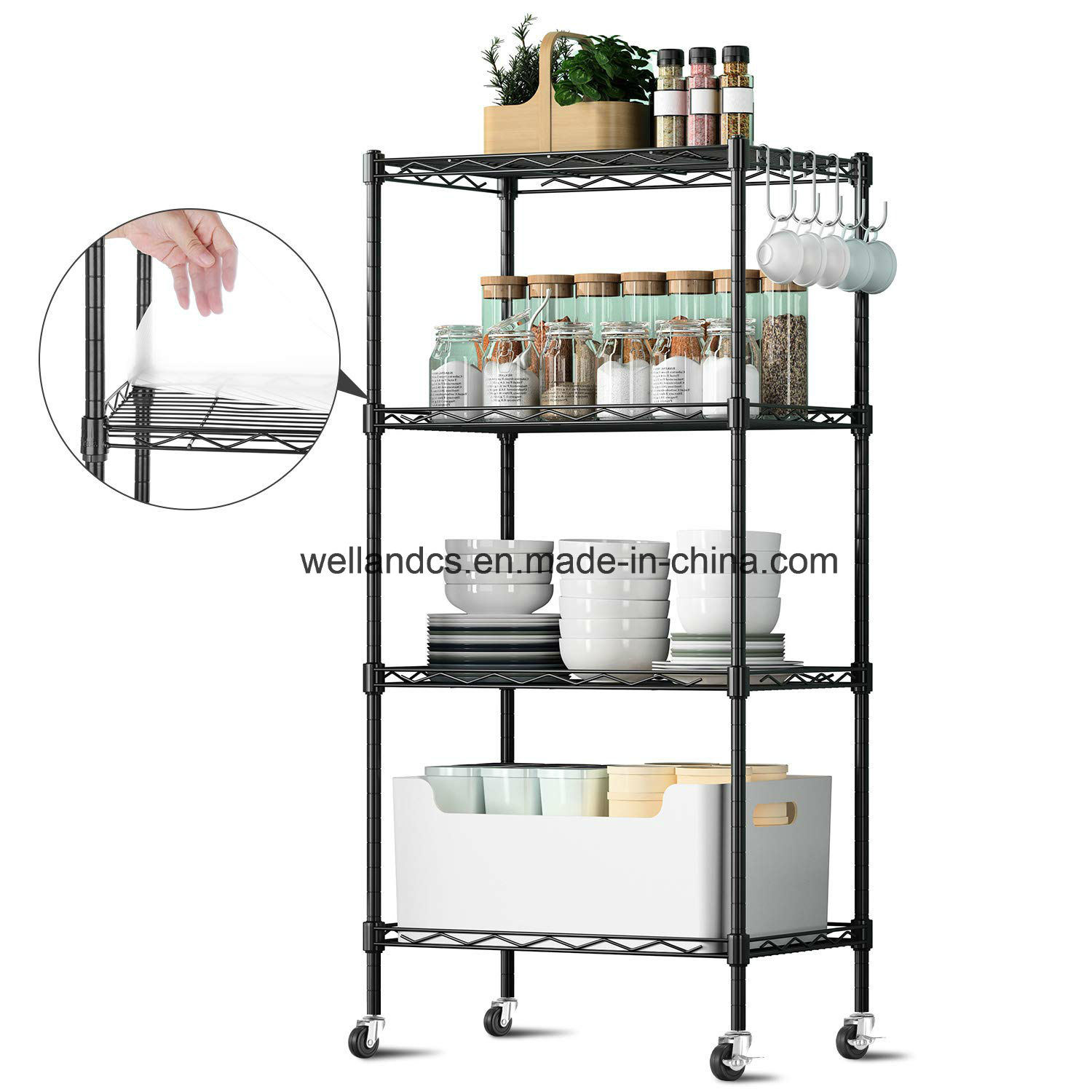 Hot Item 4 Tiers Wire Shelving Unit Metal Storage Rack Durable Organizer Perfect For Pantry Kitchen