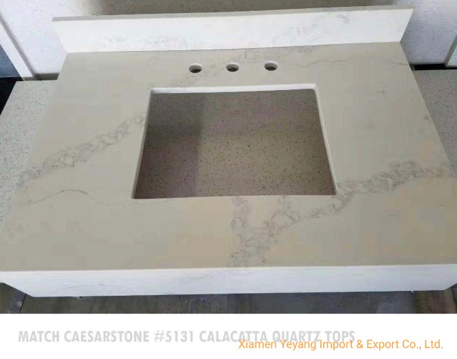 Polished Calacatta Quartz Vanity Tops
