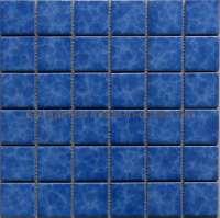 China Blue Glazed Mosaic Swimming Pool Tile (Y48K03