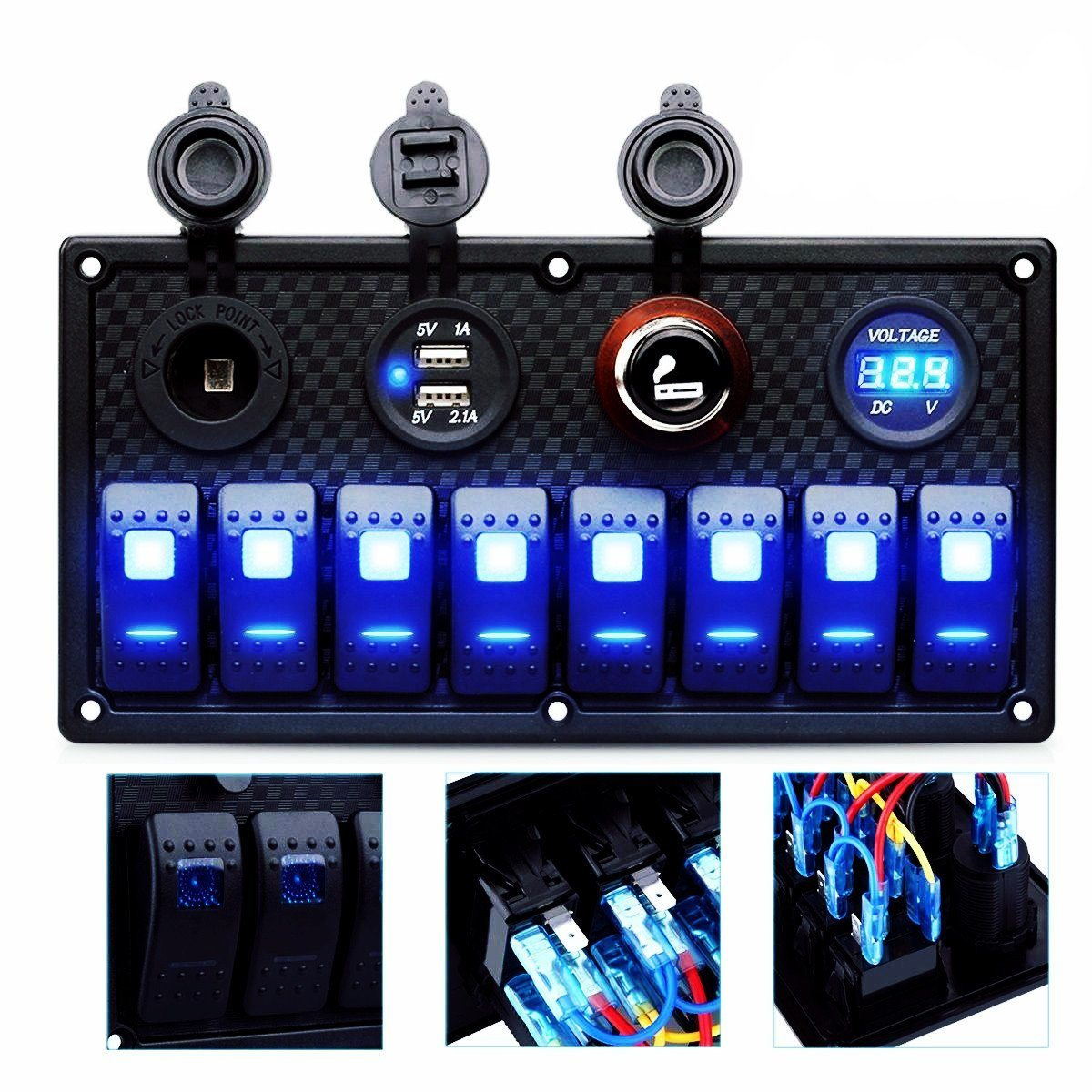 hight resolution of china rocker switch panel fuse usb power socket breaker voltmeter china rocker switch panel digital voltmeter