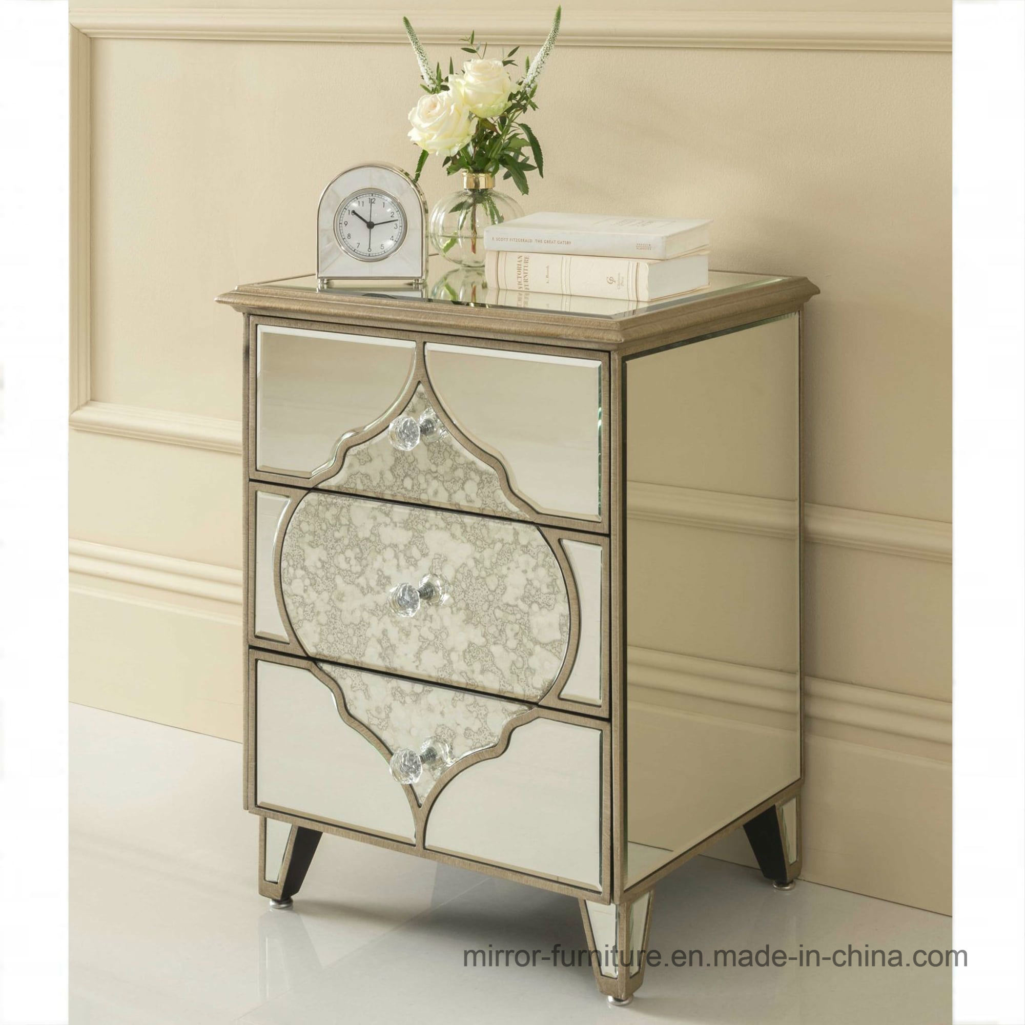 Hot Item Antique Golden Line Mirrored Side Table Bedroom Night Stand