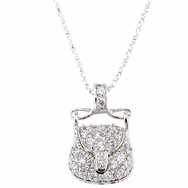 China Sterling Silver CZ Purse Pendant in 925 Sterling
